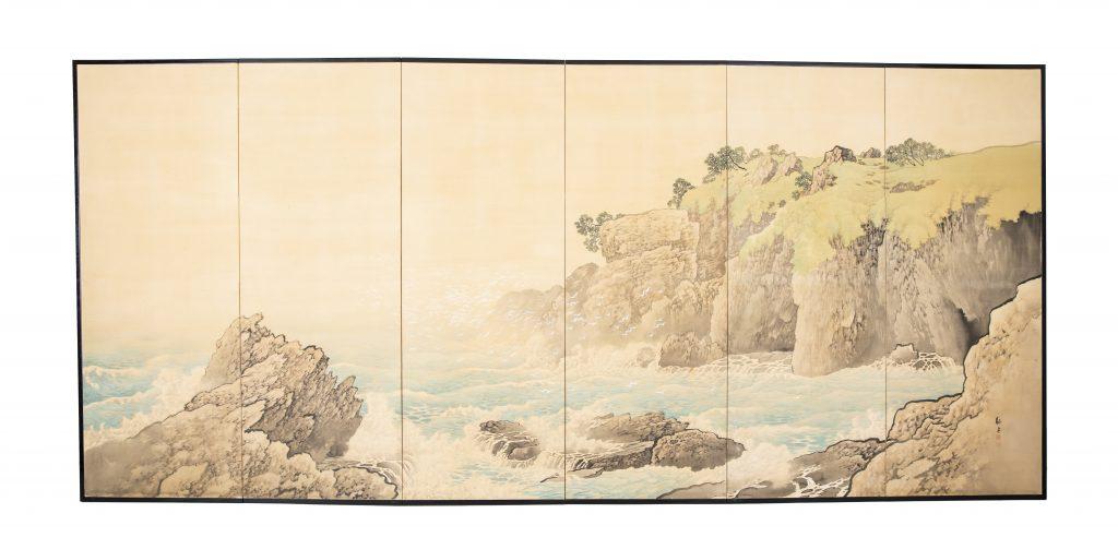 絵画 荒磯の図・残雪の図 西井敬岳