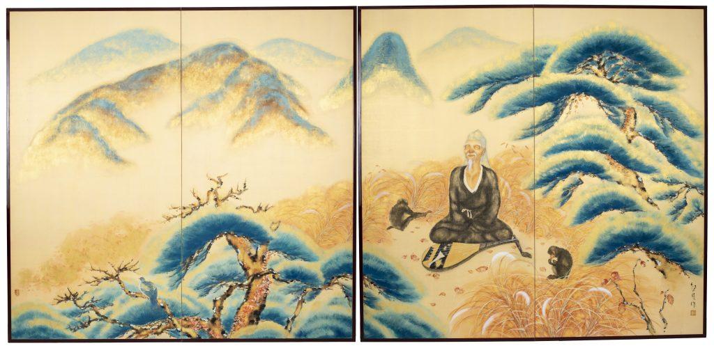 絵画 2枚折屏風 伊藤柳荘